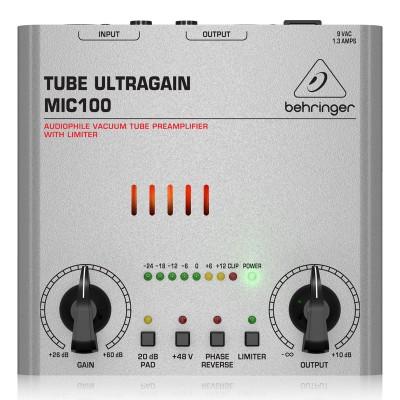 Микрофонный предусилитель Behringer MIC100 Tube UltraGain, фронтальный вид