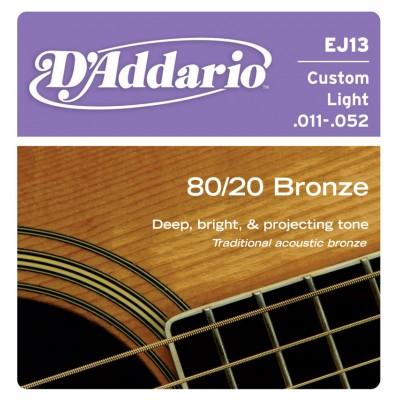 Струны для акустической гитары D'Addario EJ13 BRONZE 80/20