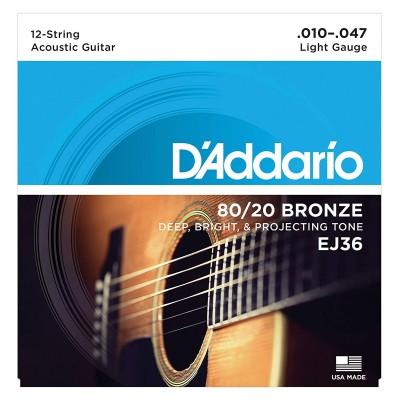 Струны для 12-струнной акустики D'Addario EJ36 BRONZE 80/20